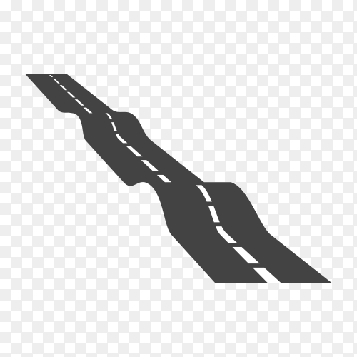 Isolated black color road or highway with dividing marking on transparent PNG