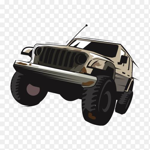 Jeep car illustration on transparent background PNG