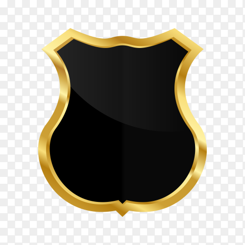 Luxury gold black shield on transparent background PNG
