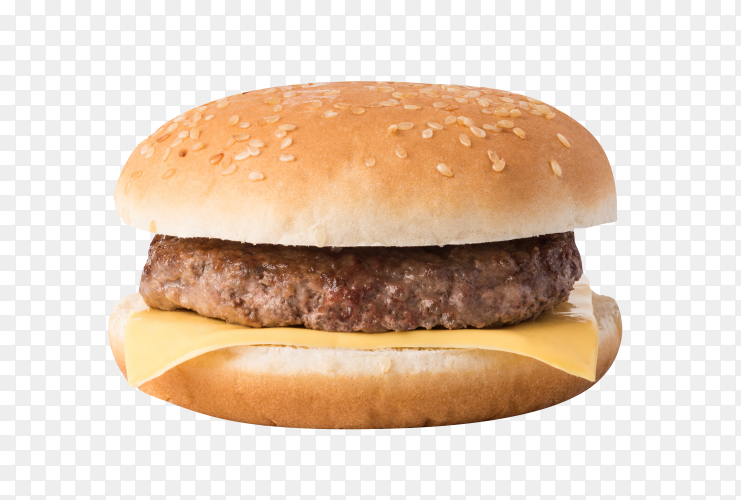 Meat burger with cheese on transparent background PNG