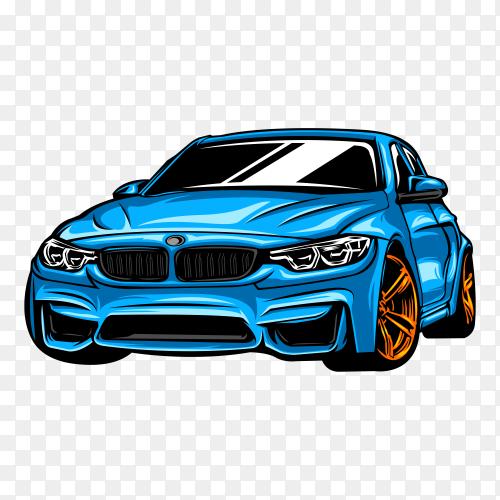 Modern car illustration with blue color on transparent background PNG