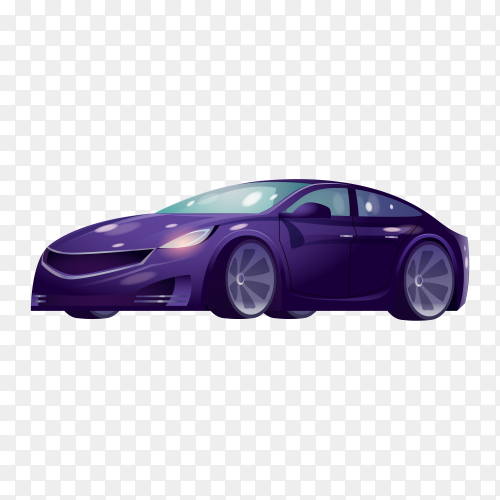 Modern car with purple color on transparent background PNG