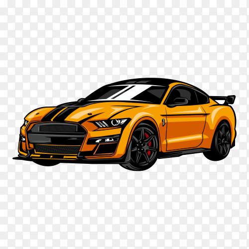 Modern sport car illustration on transparent background PNG