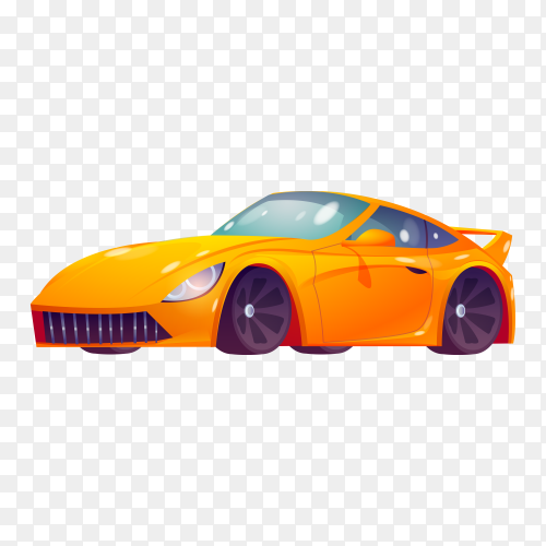 Orange car illustration on transparent background PNG