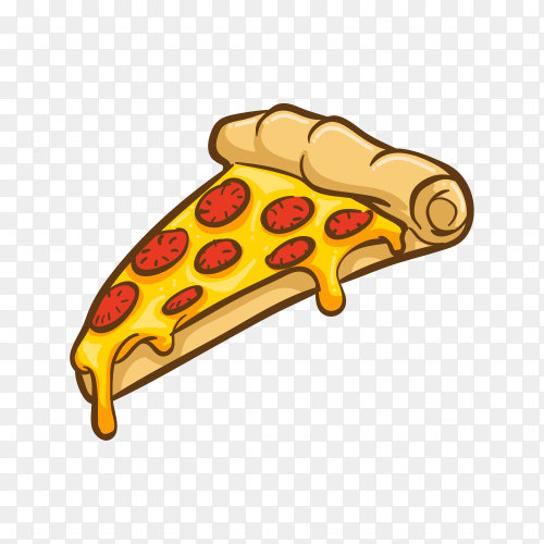Pizza illustration on transparent background PNG