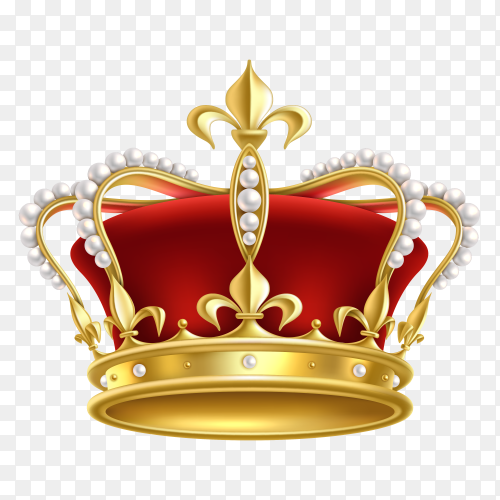 Realistic golden crown. king, prince and queen gold crown and diadem royal heraldic decoration on transparent background PNG