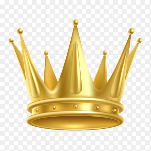 Realistic golden crown. crowning headdress for king or queen on transparent background PNG