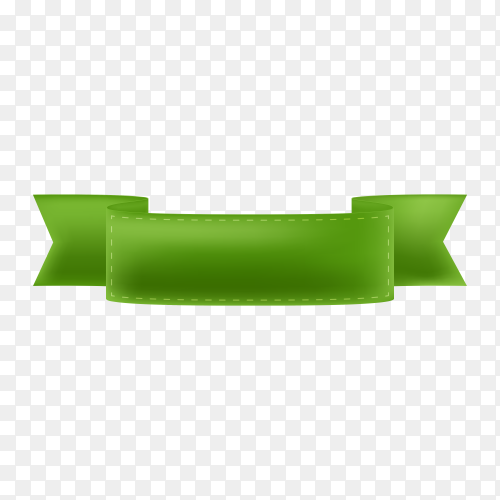 Realistic green ribbon on transparent background PNG