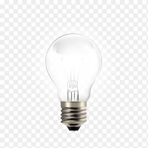 Realistic light bulb isolated on transparent background PNG