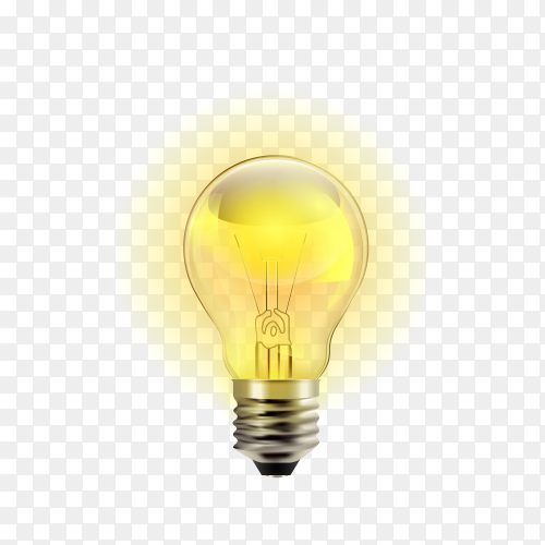 Realistic light bulb on transparent background PNG