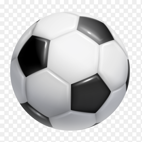 Realistic soccer ball on transparent background PNG