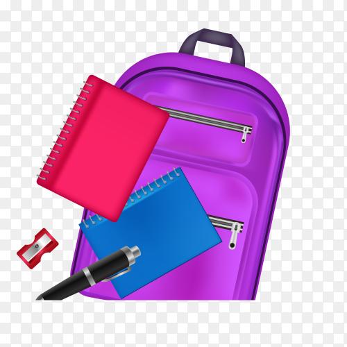 School student bag on transparent background PNG