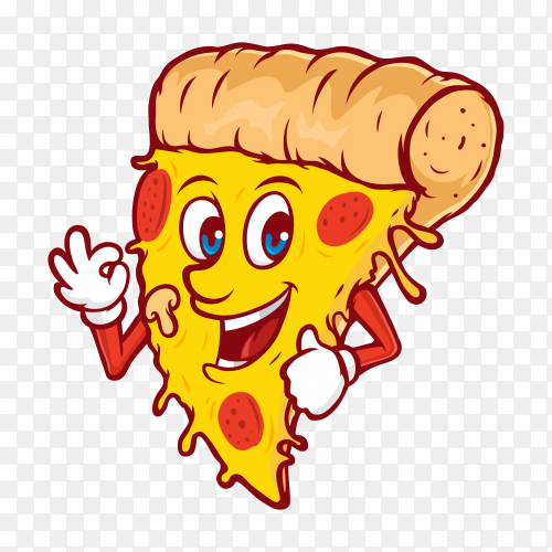 Slice of pizza melted cartoon icon illustration on transparent background PNG