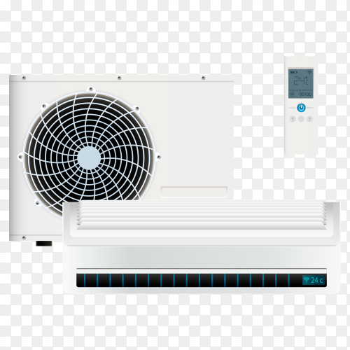 Split system air conditioner inverter. cool and cold climate control system on transparent background PNG
