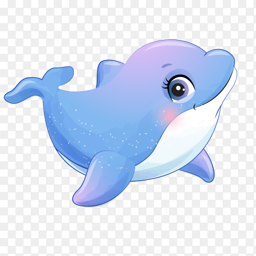 Standing dolphin cartoon on transparent background PNG