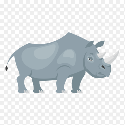 Standing rhinoceros side view. African animal in cartoon style on transparent background PNG