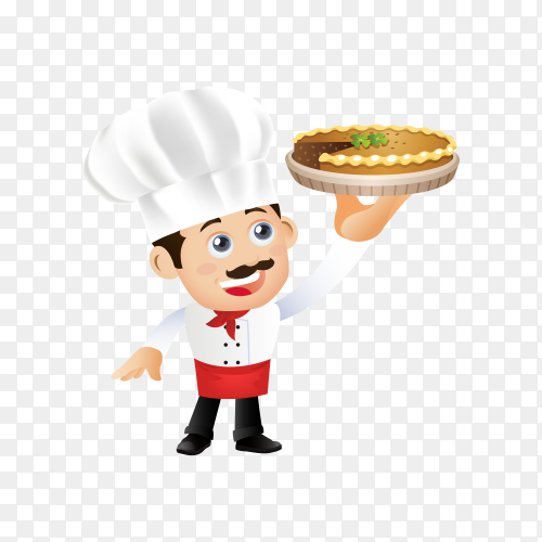 The chef man is holding a cake on transparent background PNG