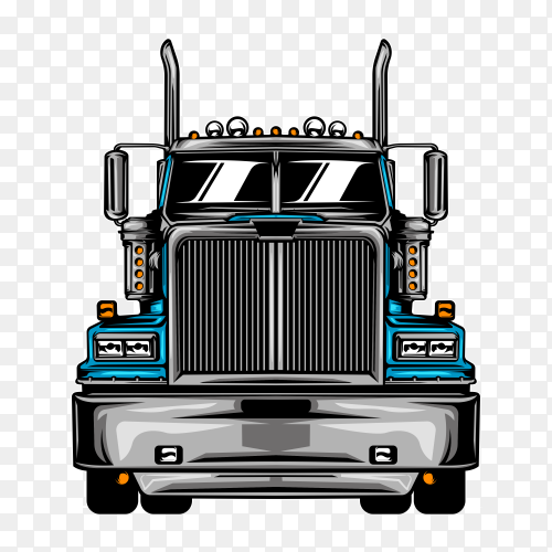 Truck illustration with solid color on transparent background PNG