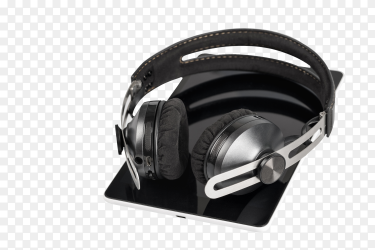 Wireless headphones on tablet computer on transparent background PNG