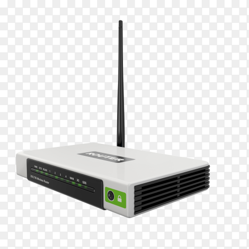 Wireless WiFi router on transparent background PNG