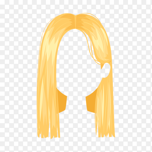 Woman blond wig hairstyle on transparent background PNG