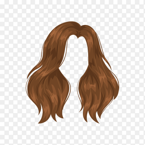 Woman brown wig hairstyle on transparent background PNG