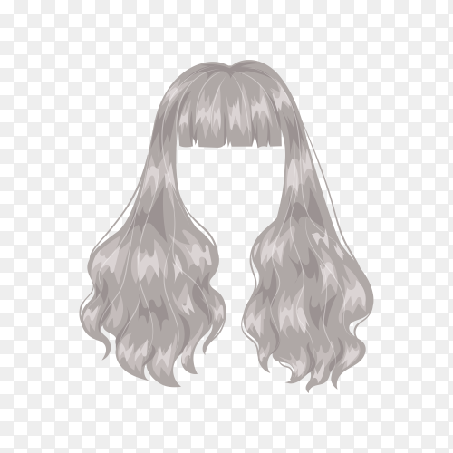 Woman gray wig hairstyle on transparent background PNG