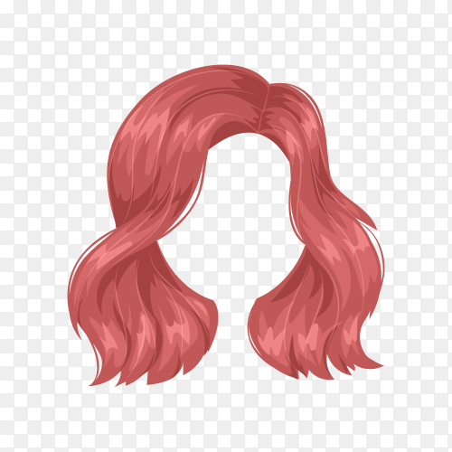 Woman wig hairstyle on transparent background PNG