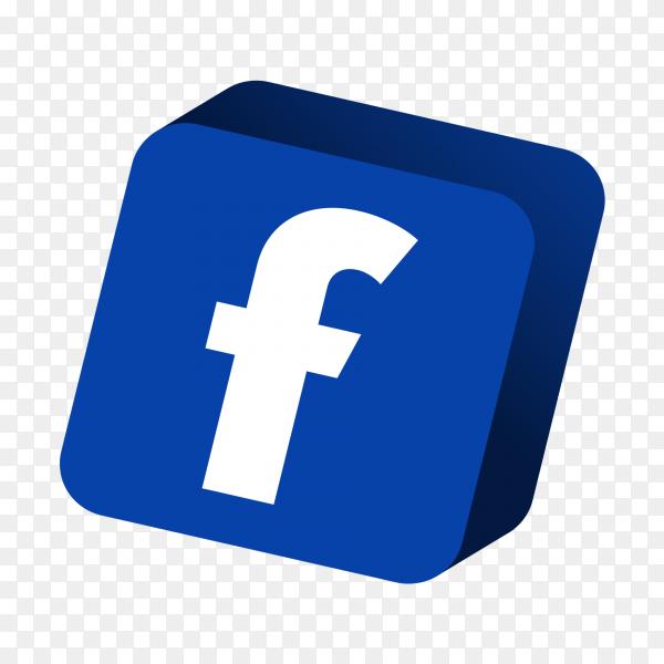 3D facebook logo PNG