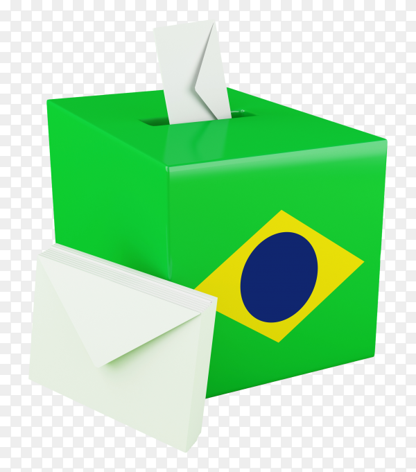 3D ballot box with flag of brazil PNG