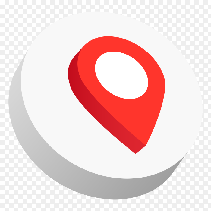 3d logo gps red color icon PNG