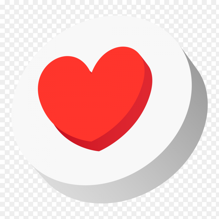 3d icon heart on social media PNG