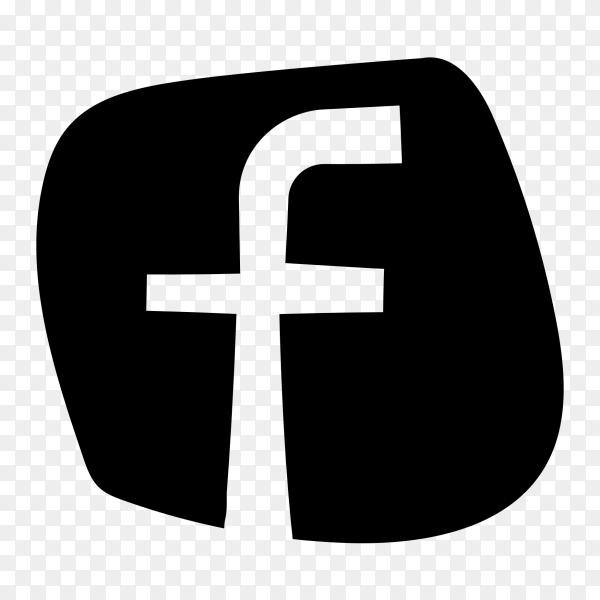 Cute black facebook logo PNG