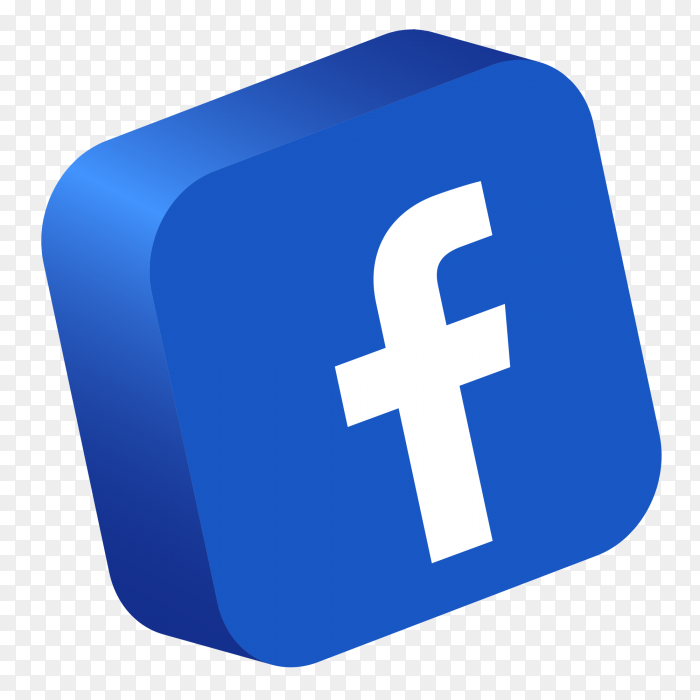 Facebook logo 3d button PNG