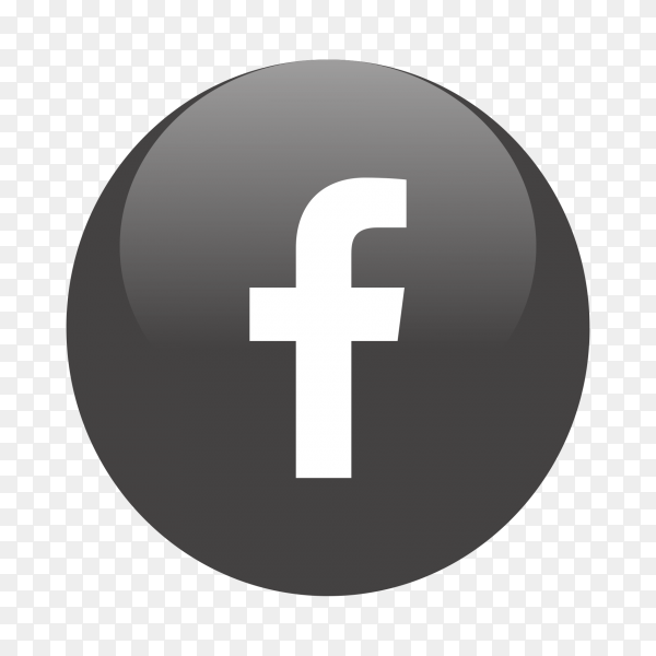 Facebook logo popular media in black circle PNG