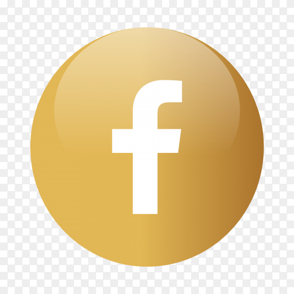 Facebook logo popular media in gold circles PNG