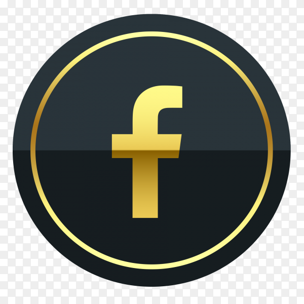 Facebook logo premium of golden social media PNG
