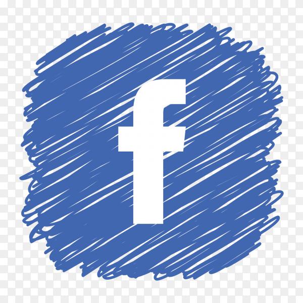 Facebook logo scribble social media icon PNG