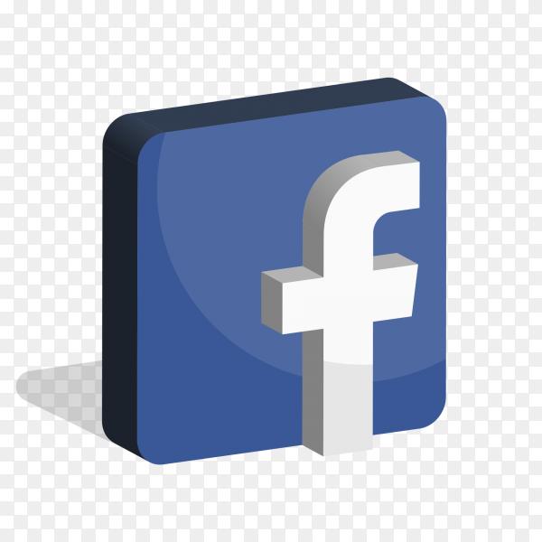 Facebook logo social media 3D PNG
