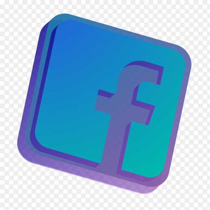 3D Logo Facebook vector PNG