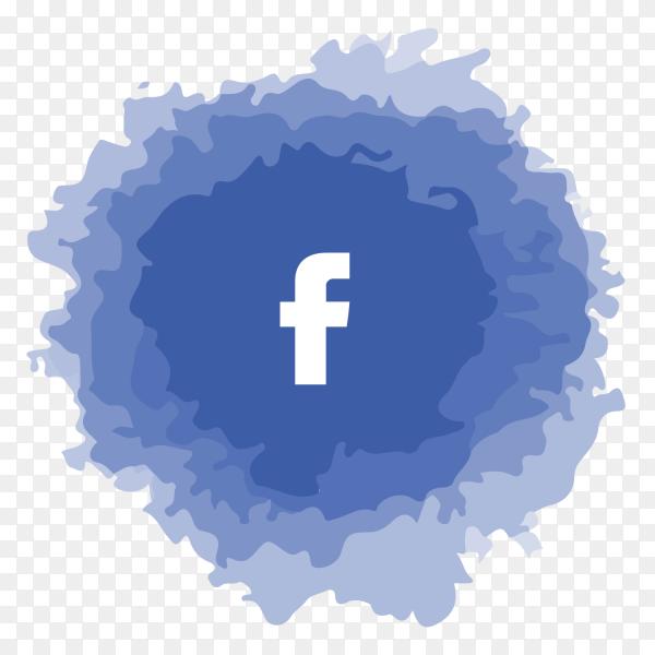 Facebook logo watercolor social media PNG