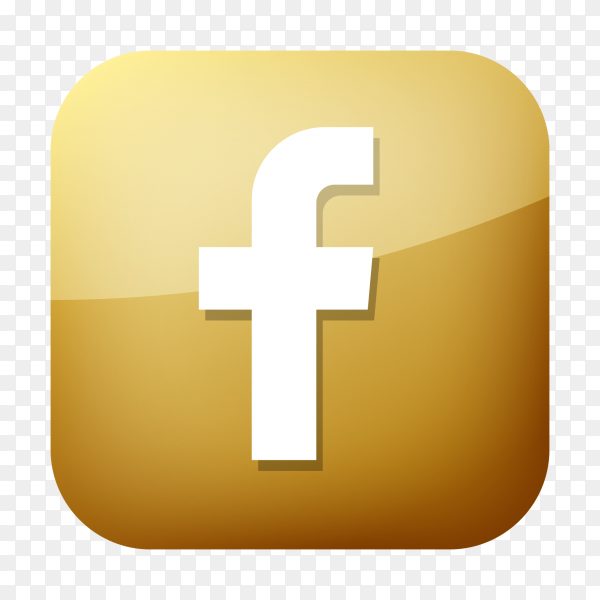 Golden facebook icon PNG
