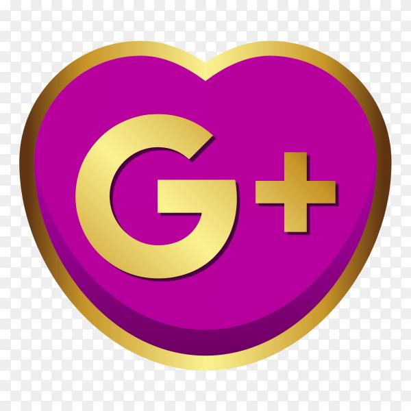GooglePlus logo golden heart social media PNG