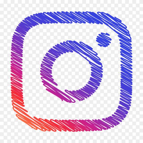 Instagram logo creative scribble sketch style PNG
