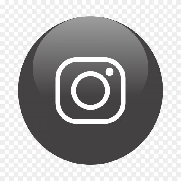 Instagram logo popular media in black circle PNG