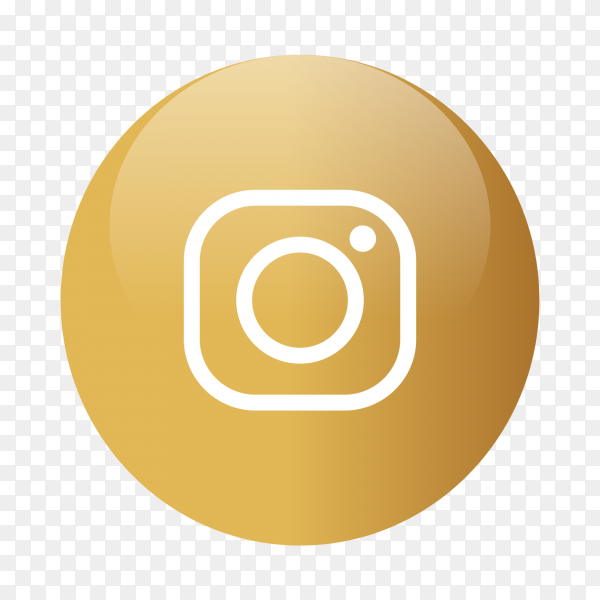 Instagram logo popular media in gold circle PNG