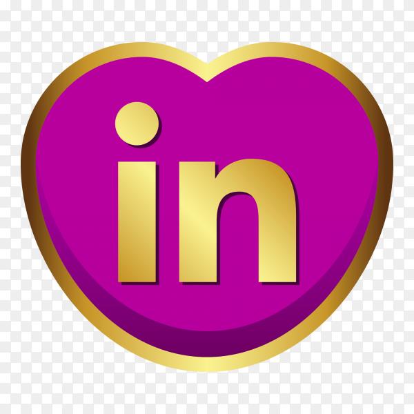Linkedin logo golden heart social media PNG