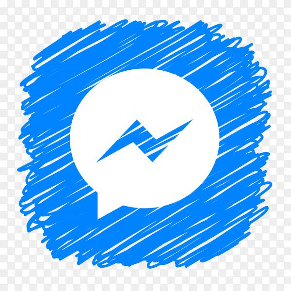 Messenger logo scribble social media icon PNG