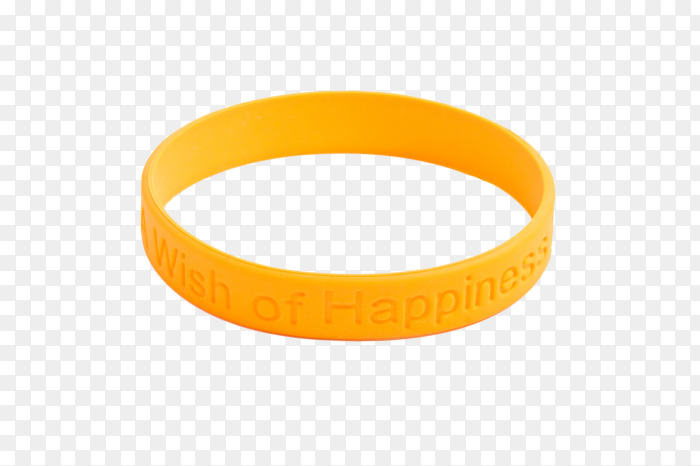 Blank rubber plastic stretch yellow bracelet PNG