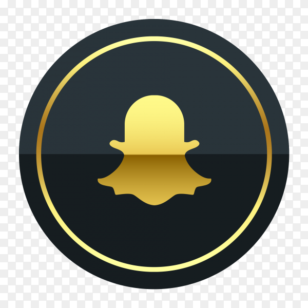 Snapchat logo premium of golden social media PNG